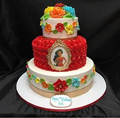 Elena de Avalor (Festa) Princess Elena of Avalor (Party) Disney Themed Cakes, Disney Cakes, Disney Princess Party, Princess Birthday, Little Girl Birthday, 6th Birthday Parties, Birthday Ideas, Party Cakes, Cupcake Cakes