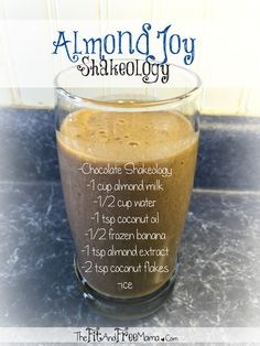 Try this delicious Almond Joy Shakeology / green smoothie recipe! It's the perfect substitute for the almond joy candy bar, and loaded with vitamins, minerals and nutrients! So simple to make and so healthy to drink! Totally toddler approved as well! Follow me on facebook.com/thefitandfreemama for a new Shakeology recipe every Thirsty Thursday!
