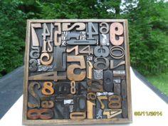 Letterpress Antique Wood Type Numbers & Metal Dingbats Graphic Design 6 x 6 Inch #Letterpress