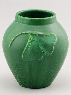 Door Pottery Falling Ginko Vase in Cucumber Green