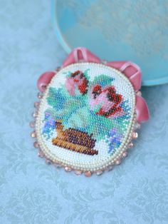 Embroidery bouquet brooch Seed bead brooch Beadwork Jewelry Bead Embroidery Floral Design Gift for mom For flower lovers