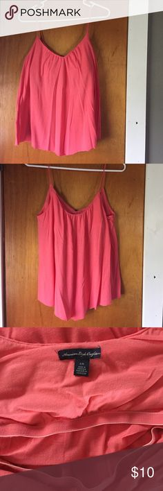 American Eagle flowy tank Very beautiful! Worn once. Pink/Coral color. Has a built in shelf bra. American Eagle Outfitters Tops Tank Tops