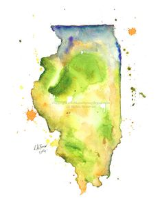 Illinois Map Print of watercolor by MilkandHoneybread on Etsy