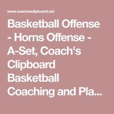 Basketball Offense - Horns Offense - A-Set, Coach's Clipboard Basketball Coaching and Playbook