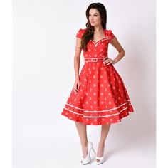 Voodoo Vixen Red Nautical Cap Sleeve Leslie Stretch Swing Dress (£52) ❤ liked on Polyvore featuring dresses, red, vintage pin up dresses, vintage white dress, swing dress, white cap sleeve dress and pin up dresses