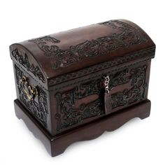 Gothic Jewelry Box Diy Mohena wood and leather jewelry box, 'Colonial Mystique' by NOVICA - Unique Colonial Wood Leather Jewelry Box Wooden Jewelry Boxes, Wooden Boxes, Decorative Accessories, Decorative Boxes, Casa Loft, Leather Jewelry Box, Jewelry Chest, Clean Gold Jewelry, Woodworking Box
