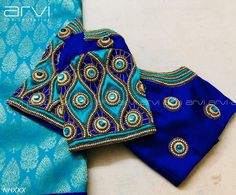 Gorgeous deep blue and powder blue color combination designer blouse with hand embroidery work. Blouse Back Neck Designs, Cutwork Blouse Designs, Hand Work Blouse Design, Wedding Saree Blouse Designs, Best Blouse Designs, Pattu Saree Blouse Designs, Simple Blouse Designs, Stylish Blouse Design, Churidar Designs