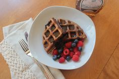 Paleo Almond Butter Blueberry Waffles. Free of refined sweeteners and so light!