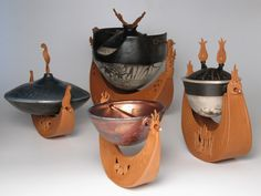 'Under Sea Fleet' ~ Raku by Diane Smeraldo 3of3