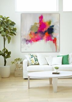 "Large abstract painting on canvas pink navy orange - Abstract Art Original Art ""The Soloist"" Fine art ink acrylic impasto mixed media"