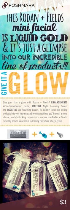 Rodan + Fields FREE Give It A Glow Mini- Facial 💖 Would you like to try a FREE mini facial by the #1 Premium skincare company in the US- Rodan + Fields? I am just shy of 50 and I'm loving my skin- thanks to Rodan + Fields!Comment below to receive one FREE mini facial- enough for 2 uses-depending on how much you use. 💖 Take the solution tool on my website www.girlswhoglow.myrandf.com  -to find out what skincare line is best for you. These samples are for those who do not have a consultant…