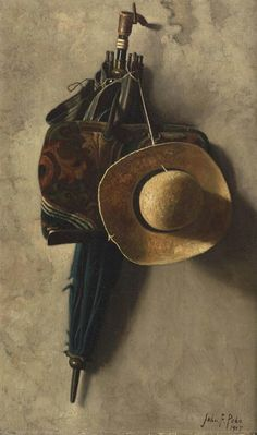 Still Life with a Hat, an Umbrella, and a Bag,John Frederick Petoof famous paintings in ZMZ art museum