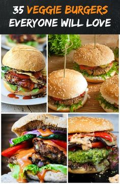 Check out this list of 35 totally drool-worthy healthy veggie burgers that are perfect for meat-lovers, vegetarians, and vegans alike! Vegan Meal Prep, Vegan Dinner Recipes, Veggie Recipes, Whole Food Recipes, Vegetarian Recipes, Cooking Recipes, Healthy Recipes, Vegetarian Cooking, Veggie Food