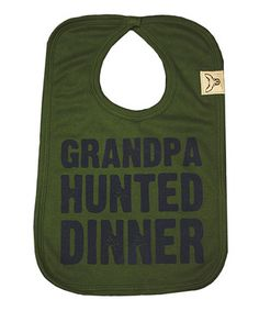 There's something about a freshly caught dinner that makes it taste so enticing. The same can be said for this super-fresh bib with its hunter-friendly message and simple Velcro closure.