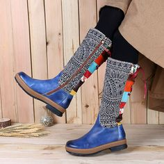 Socofy SOCOFY Bohemian Splicing Pattern Flat Leather Rainbow Knee Boots is hot-sale. Come to NewChic to buy womens boots online Mobile. Leather And Lace, Leather Lace Up Boots, Real Leather, Warm Boots, Brown Boots, Women's Boots, Leather Motorcycle Boots, Stylish Boots, Moda Online