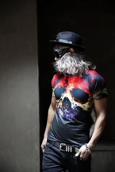 shirt urban top/shirt psychedelic/men's summer shirt/Mad men/Country Western/ festival wear/gladiation skull half sleeve T-shirt