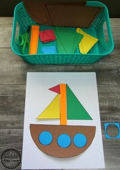 Summer Preschool Activities - Building with Shapes and Cutting Practice. #preschool #summerpreschool #preschoolprintables #preschoolcenters #planningplaytime #shapes #cuttingpractice