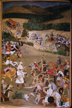 Khan Dauran receiving the heads of Jujhar Singh and his son Bikramajit (January Islamic Paintings, Indian Paintings, Mughal Miniature Paintings, Rajasthani Painting, Iron Man Wallpaper, The Royal Collection, History Of India, Mughal Empire, India Art
