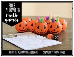 Free Halloween Math Games by Susan Jones Play Math Games, Free Math Games, Counting Games, Halloween Math, Halloween Season, K 1, Fun Facts, Stamps, Students