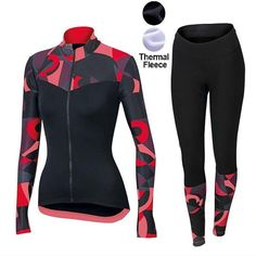 Winter thermal fleece riding clothes 2017 Sportful Primavera Red Women Long  Sleeve Cycling Jersey And Pants Kit Ropa ciclismo 8218a1e45