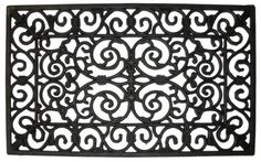 "Natural Rubber Wrought Iron 24 x 36 Doormat (Black) (1""H x 24""W x 36""D) by J Home Fashions. $42.99. Crafted of rugged rubber with the look of wrought iron. Size: 1""H x 24""W x 36""D. 100% natural rubber removes moisture and dirt from shoes into 1/2"" thick scrollwork. This non-slip rubber door mat won't crack when it freezes or buckle when it's steamy. Color: Black. The Natural Rubber Wrought Iron 24 x 36 Doormat By J & M Home Fashions boasts Classical Wrought Iro..."
