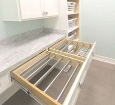 Turn drawers into drying racks with bars. This would be a dream laundry room! Turn drawers into drying racks with bars. This would be a dream laundry room! Laundry Room Drying Rack, Laundry Room Storage, Laundry Room Design, Laundry In Bathroom, Drying Racks, Laundry Rooms, Laundry Rack, Laundry Baskets, Indoor Clothes Drying Rack