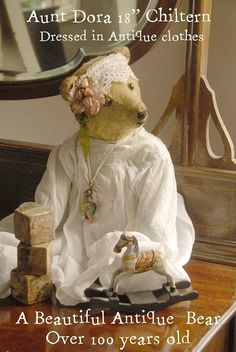 Aunt Dora Antique teddy bear Chiltern 1900's