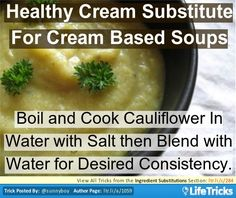 Ingredient Substitutions - Healthy Cream Replacement in Cream Soups