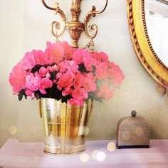 i love gold and roses... and absolutely love small vases!! in every room! so charming!