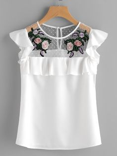 SheIn offers Flower Patched Dot Mesh Yoke Frill Cap Sleeve Top & more to fit your fashionable needs. Cap Sleeve Top, Cap Sleeves, Girl Outfits, Cute Outfits, Fashion Outfits, Frill Tops, Top 14, Cute Blouses, Blouse Designs