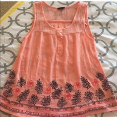 FINAL PRICE ORANGE TOP Orange top. Size Small. Beautiful embroidery at the bottoms. Color orange with blue flowers. ❌No flaws, rips or stains❌ Kiki is a top seller Urban Outfitters Tops Blouses