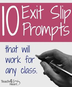 If you're not using exit slips, you really should try them.Basically, you give students a quick prompt at the end of class (or for elementary, at the end of the day or the end of a subject). Then the students have just a couple minutes to write an answer and turn it in.