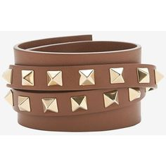 Valentino Multi Stud Double Wrap Bracelet: Brown (460 CAD) ❤ liked on Polyvore featuring jewelry, bracelets, brown, studded wrap bracelet, studded jewelry, brown jewelry, valentino jewelry and leather jewelry
