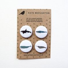 Whale badges set of 4 by katebroughton on Etsy, £4.00