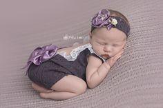 Newborn Photos | Newborn Photography | Newborn Girl |  © Paige Laro Photography | Studio Photography | Bean Bag | bum Up Pose | Toushy up pose| Open back romper | Purple | http://www.PaigeLaroPhotography.com
