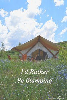 Glamping at Conestoga Ranch Bear Lake Utah - Luxury grand tents, traditional tents, and wagons.