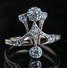 ART NOUVEAU Ring   H: 1.8 cm (0.71 in)  Ring Size:  |UK:N|  |US:6.75|  |EU:53.8|  |Asia:13.5| British, c.1905