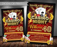 Casino Invitation, Casino Night Birthday Party Invitation, Casino Night Birthday Party Invite, Red and Gold, Digital or Printed #605 by PerfectPrintableCo on Etsy