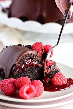 Chocolate Raspberry Bundt Cake with a surprise raspberry filling and a Chocolate Chambord Glaze recipe