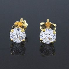 VVS1 1ct Round Cut Solitaire Stud Earrings Push Back G918 by JewelryHub on Opensky