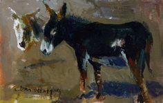 Donkeys. / Oil on cardboard.