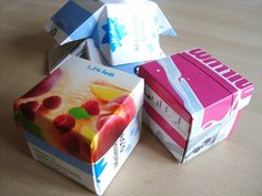 When recycling is gold .: DIY: Gift box of milk and juice cartons Diy Gaveæske, Gift Tags, Repurposed, Upcycle, Workshop, Wraps, Homemade, Crafty, Creative
