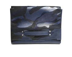 Bag or hand satchel, blue-camouflage printed leather by @Valentino #camouflage