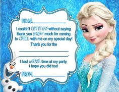 Personalized Frozen Princess Elsa & Olaf Birthday Party Thank You Note Cards with fill in the blank lines by DannisCuteCreations Olaf Birthday Party, Frozen Birthday Theme, 4th Birthday Parties, Frozen Party, Frozen Theme, Birthday Thank You Cards, Thank You Note Cards, Elsa Olaf, Birthday Decorations