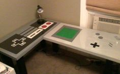 ♥ this techie geek chic desk!! Throwback with a Nintendo remote & GameBoy! Totally matches my home office colors!  http://on.mash.to/OyciaC