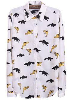 White Lapel Long Sleeve Animal Print Blouse - Sheinside.com