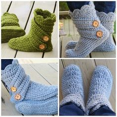 """For the Love of Crochet: Boots Pattern for Women. [I just never """"care for"""" knit/crochet-slippers. Crochet Boots Pattern, Crochet Motifs, Crochet Slippers, Cute Crochet, Crochet Crafts, Yarn Crafts, Knit Crochet, Knitted Booties, Beautiful Crochet"""