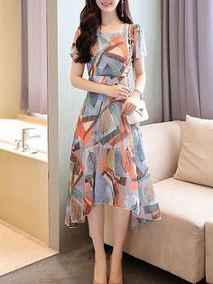 Korean Chiffon Dress Women Elegant Women Print Dresses Woman High Waist Floral Dress Plus Size Irregular Dresses Vestidos Verano Frock Fashion, Women's Fashion Dresses, Stylish Dresses, Casual Dresses, Pretty Dresses, Beautiful Dresses, Frock For Women, Chiffon Maxi Dress, Maxi Dresses