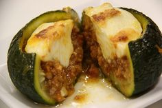 Zapallito relleno - Calabacín luna relleno Zucchinis rellenos - Calabacines rellenos #calabacin #zapallito #zucchini #receta