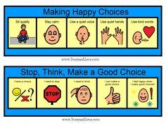 Making choices visual.  Lots of great ideas for behavioral visuals for students.